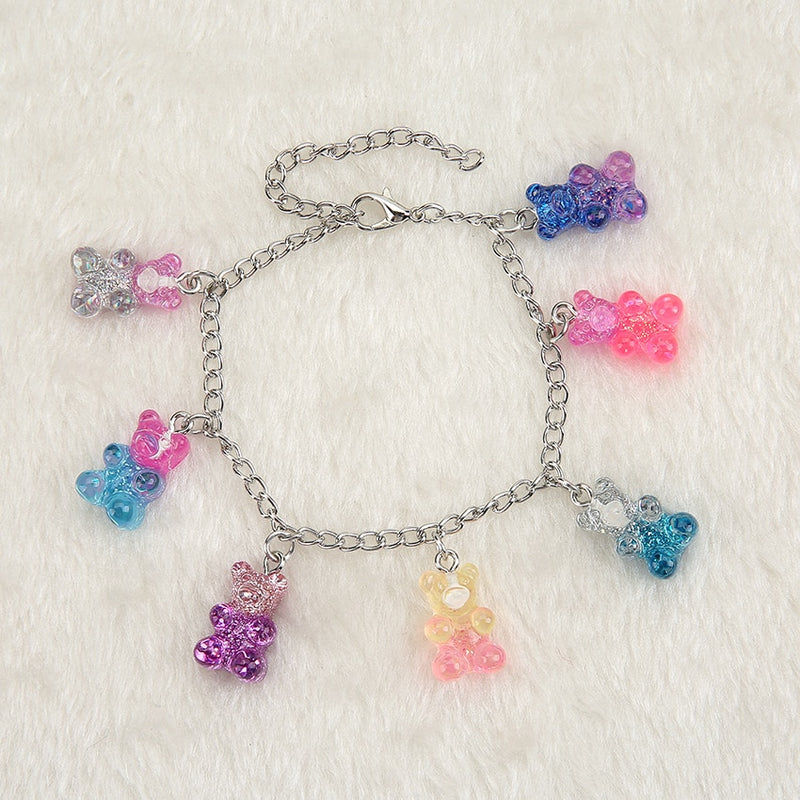 1PC Women Bracelet  Children Hand Chain  Candy Colors MIxed  Resin Gummy  Bear Charms  Birthday Party Gift  Accept Custom-make