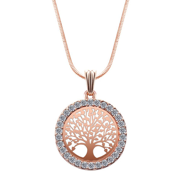 Tree of Life Crystal Round Small Pendant Necklace Gold Silver Colors Bijoux Collier Elegant Women Jewelry Gifts on party
