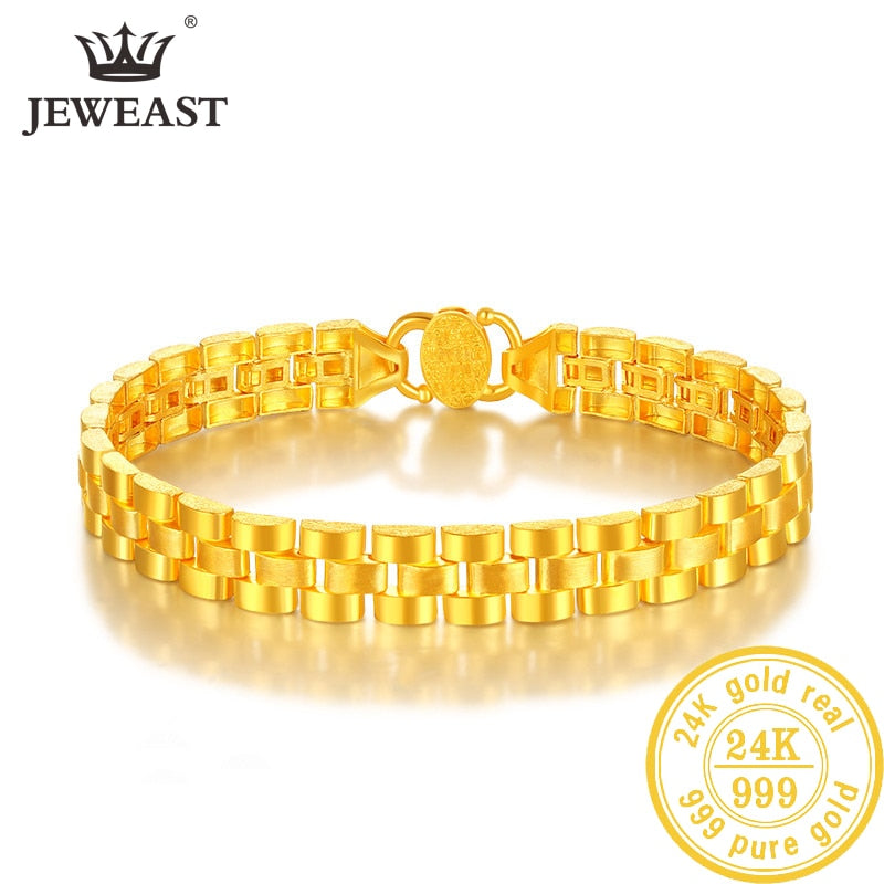 JLZB 24K Pure Gold Bracelet Real 999 Solid Gold Bangle Refreshing Smart Flowers Trendy Classic Fine Jewelry Hot Sell New 2019
