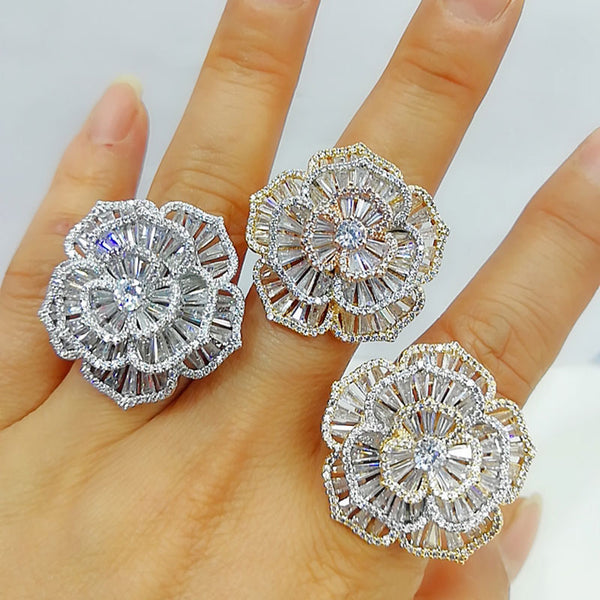GODKI Luxury Baguette CZ Camelia Flower Bold Rings with Zirconia Stones 2020 Women Engagement Party Jewelry High Quality