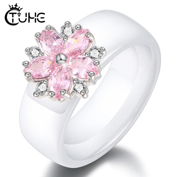Female Girls Pink Crystal Geometric Ring Good Quality Healthy Ceramic Ring Promise Wedding Engagement Rings For Women Best Gifts