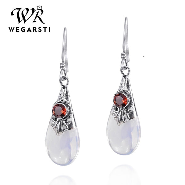 Silver 925 Jewelry Droplets Amethyst Moonstone Dangle Drop 925 Sterling Silver Earring Female Wedding Party Jewelry