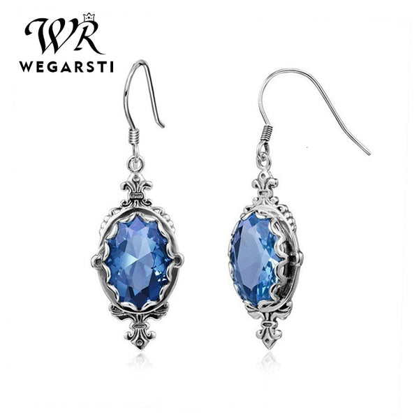 Silver 925 Jewelry Gemstones Blue Sapphire Drop Dangle Earrings 925 Sterling Silver Earrings Jewelry for Women