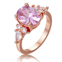 Elegant Bands Ring 925 Sterling Silver Jewellery AAA Rose Pink Cubic Zirconia Wedding Band Jewelry Gifts Drop Shipping