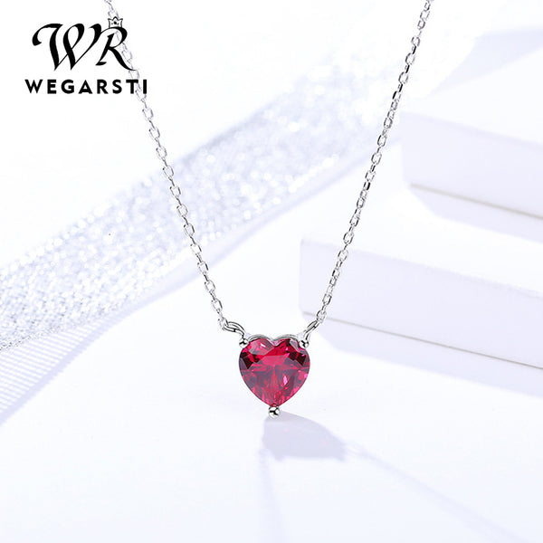 Silver 925 Jewelry Necklace Red Heart Chain Crystal Simple Pendant Necklace for Women Wedding Fine Jewelry