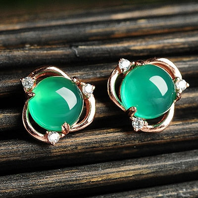 925 Sterling Silve Green Chalcedony Stud Earrings Women Fashion Earring Party Fine Jewelry Dropshipping