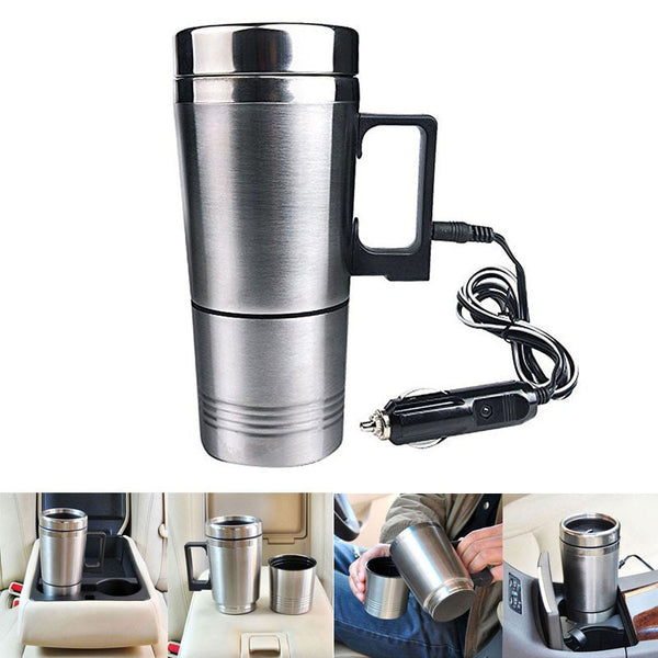 Hot Sale Water Heater Mug Car Electric Kettle Heated Stainless Steel Car Cigarette Lighter Heating Cup TY