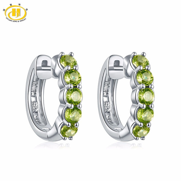 Hutang Natural Gemstone Hoop Earrings 1.2ct Peridot Made With 925 Sterling Silver Fine Elegant Classic Jewelry for Women Gift