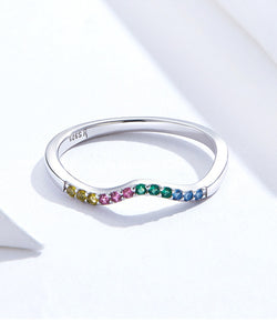 Real 925 Sterling Silver Rainbow Wave Finger Rings for Women Colorful CZ Paved Engagement Wedding Jewelry SCR636