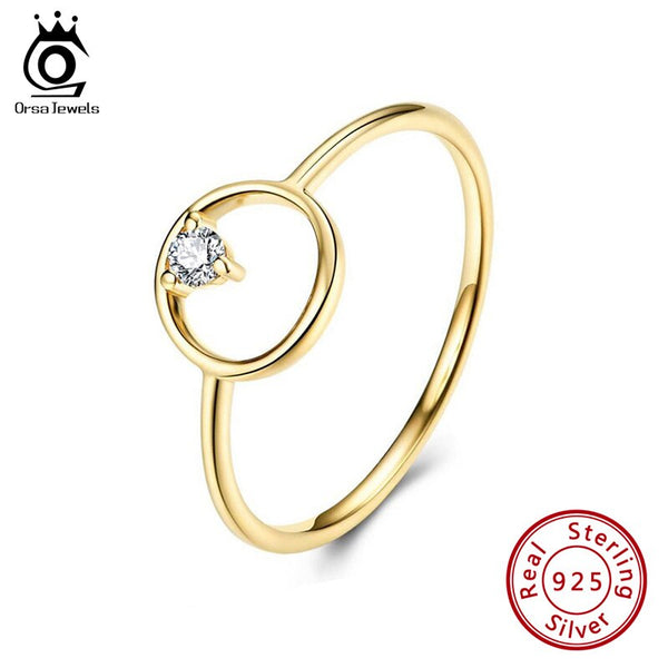 ORSA JEWELS Real 925 Light Luxury Circle Rings Solitaire AAAA Cubic Zirconia Sterling Silver Simple Fashion Ring Jewelry SR191