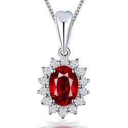 6 Color 925 Silver High Quality Classic CZ Pendant Necklace For Women Trendy Blue Red Green Stone Wedding Jewelry Gifts
