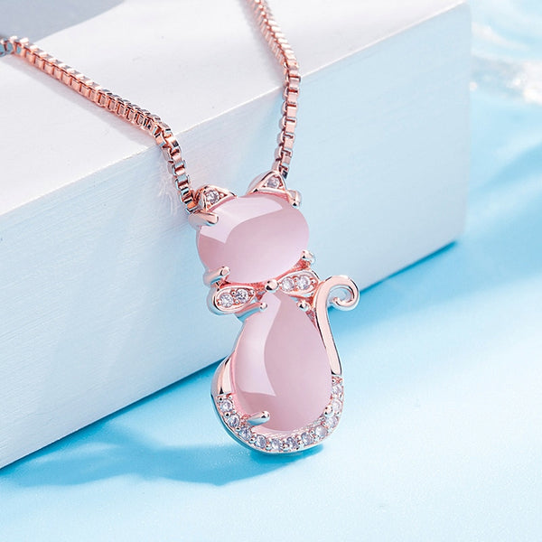925 Silver Jewelry Cute Naturel Rose Quartz Pendant Necklaces For Women Necklace Charm Wedding Party Fine Jewelry Gifts