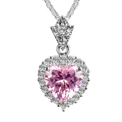 Unique Design Heart Pink Crystal Pendant Necklace 925 Sterling Silver Fashion Jewelry Wedding For Women Fine Jewelry