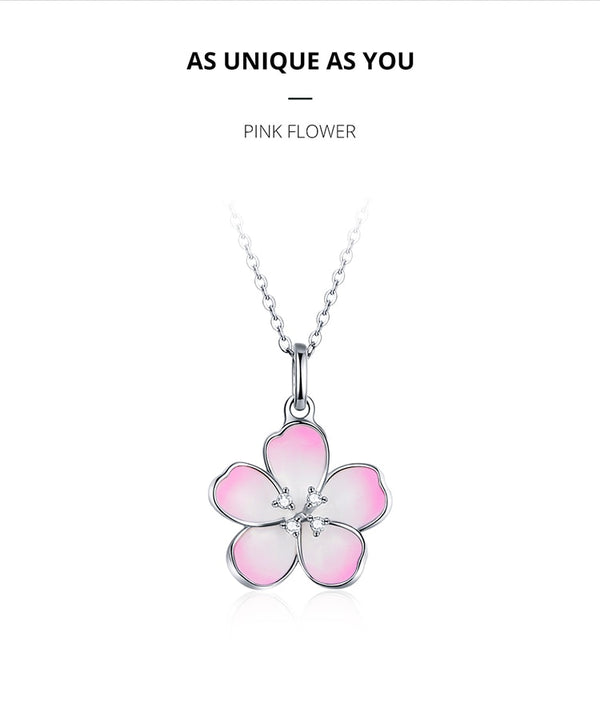 Silver 925 Spring Pink Enamel Flower Pendant Necklace for Women Sterling Silver Chain Female Fashion Jewerly BSN160