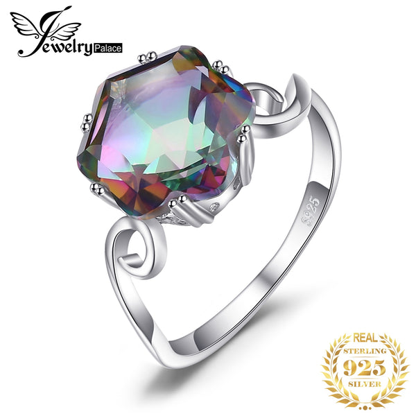 4ct Genuine Rainbow Mystic Topaz Ring 925 Sterling Silver Rings for Women Engagement Ring Silver 925 Gemstones Jewelry
