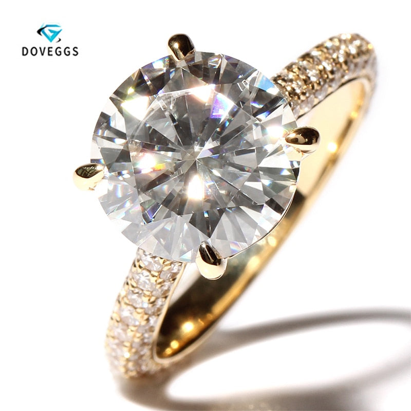DovEggs 4 Carat ct F Color Engagement Wedding Lab Grown Moissanite Diamond Ring With Real Diamond Genuine 14K 585 Yellow Gold