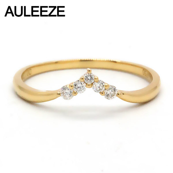AULEEZE 18K AU750 Solid Yellow Gold Wedding Stacking Ring Real Natural Diamond Pave Matching Band Fine Jewelry