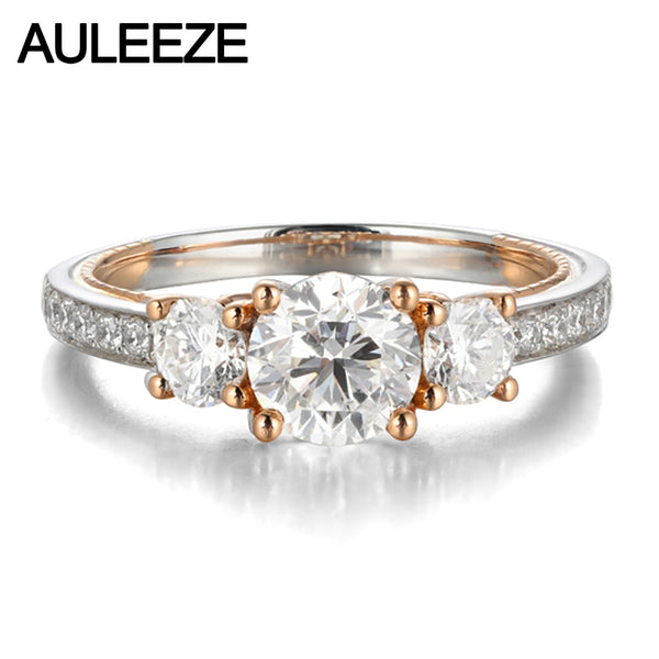 AULEEZE 14k White Rose Gold Ring Three Stone Design D Color 1 Carat Moissanite Engagement Wedding Rings For Women
