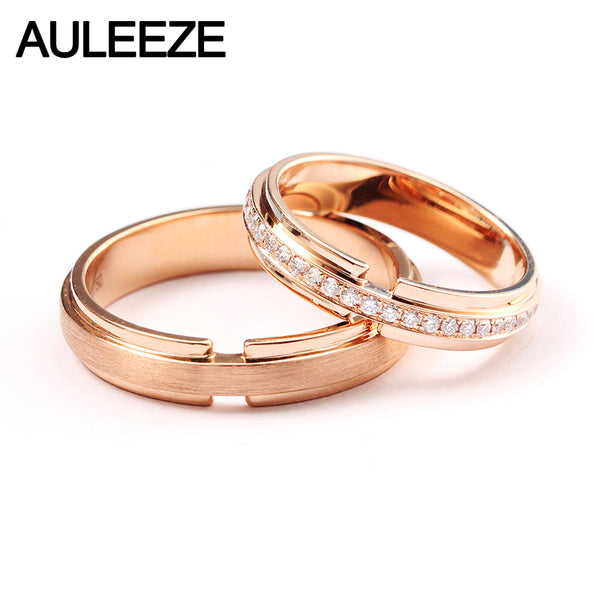AULEEZE 18K Rose Gold Real Diamond Couple Wedding Rings For Women and Men Lovers Rings Set
