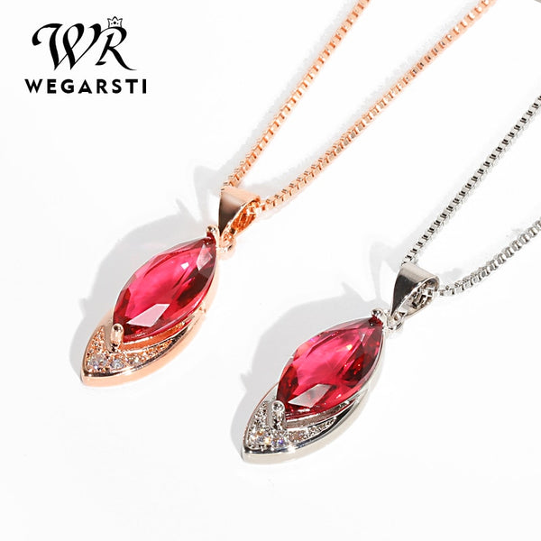 Silver 925 Jewelry Necklace Ruby With Pendant Necklaces for Women 925 Sterling Silver Necklace Fine Jewelry Wholesale