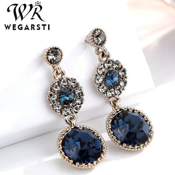 Luxury Vintage S925 Sterling Silver 1 Pair Elegant Big Blue StoneCrystal Earrings For Women Wedding Fine Jewelry Gift