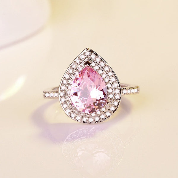 Heart Shaped Water Drop Zircon Set 925 Silver Jewelry Pink Red European Style Engagement Gift Ring Women Fine Jewelry