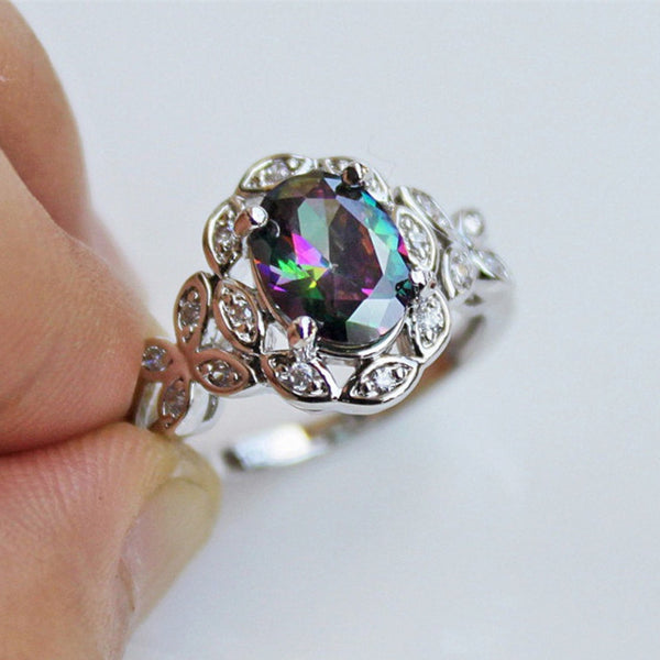 925 Silver Jewelry Seven Rainbow Zircon Ring Originality Gradual Change Color Hollow Out Butterfly Support Palmer Stone