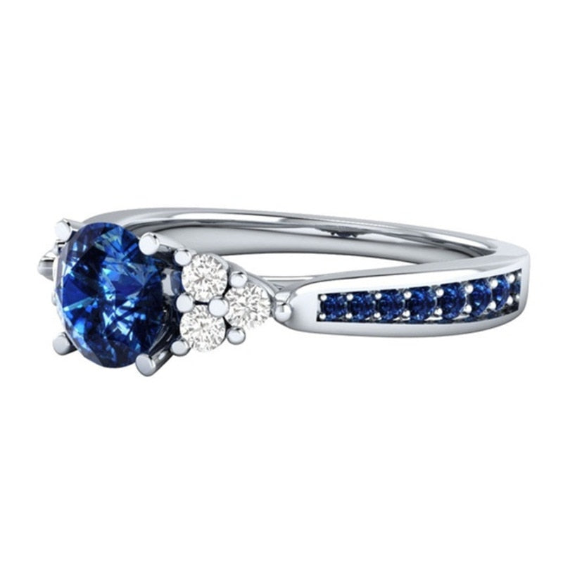 Hot Western Style Royal Blue High Quality 925 Silver Jewelry Trendy Wedding Girlfriend Gift Women Ring Drop Shiping