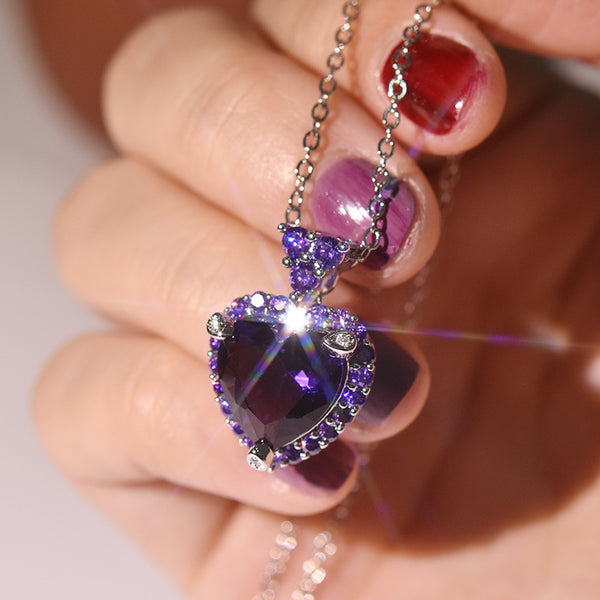 Luxury Big Crystal Heart Necklace Pendant For Women Purple Romantic CZ 925 Silver Chain Necklaces Wedding Fine Jewelry