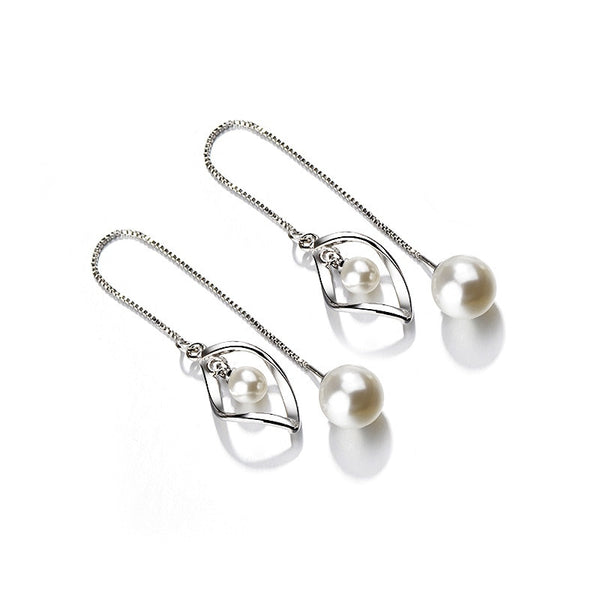Drop Pearl Earrings Genuine Natural Freshwater Pearl 925 Sterling Silver Earrings Pearl Jewelry For Wemon Wedding Gift