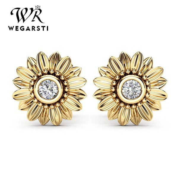 3 Color 925 Flower Earring Female Sunflower Earing Silver 925 jewelry wedding dress Wholesale