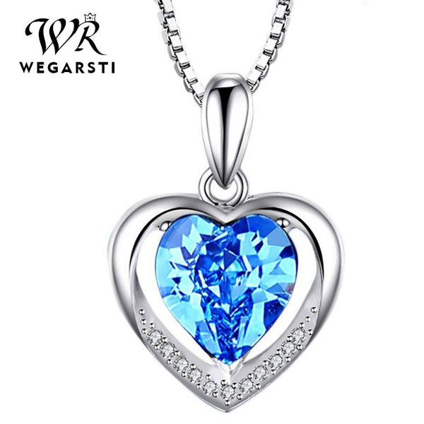 Women's 925 Silver Jewelry Necklaces Blue Pink Love Heart Pendant Necklace With Birthstone Fine Jewelry Drop Shipping