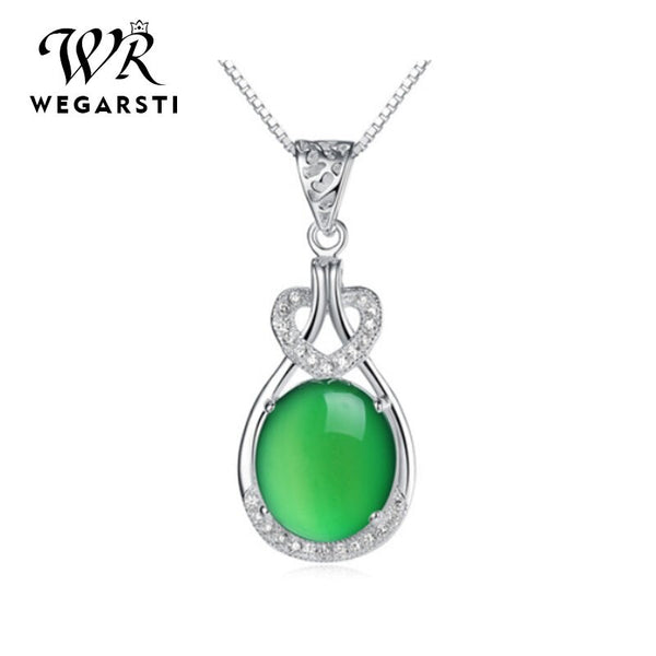 Temperament Chalcedony Necklace For Women  925 Silver Jewelry Cordate Water Drop Shaped Dropshiping Mother's Day Gifts