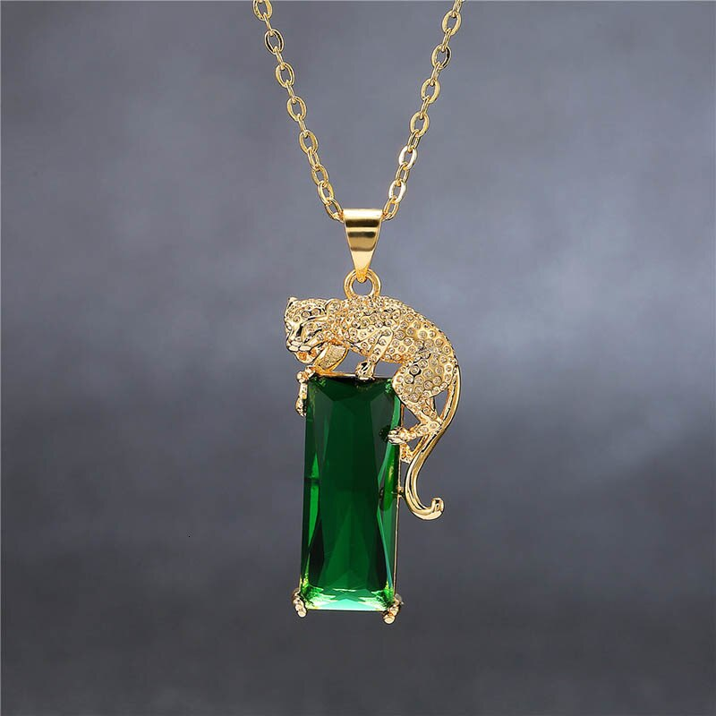Fashion Green Yellow Gold Color Cool Animal Leopard Necklace Women's Geometric Gem Gold Silver 925 Emerald Gold leopard Gem