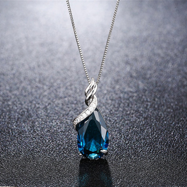 925 Silver Jewelry New Luxury Blue Water Drop Topaz Necklace Pendant for Women Silver Chain Necklaces Wedding Jewelry