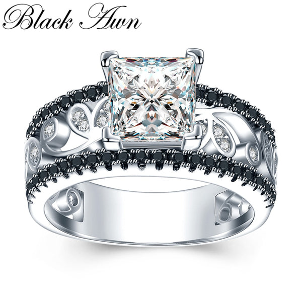 925 Sterling Silver Female Engagement Ring Trendy Wedding Rings for Women Sterling Silver Jewelry C020