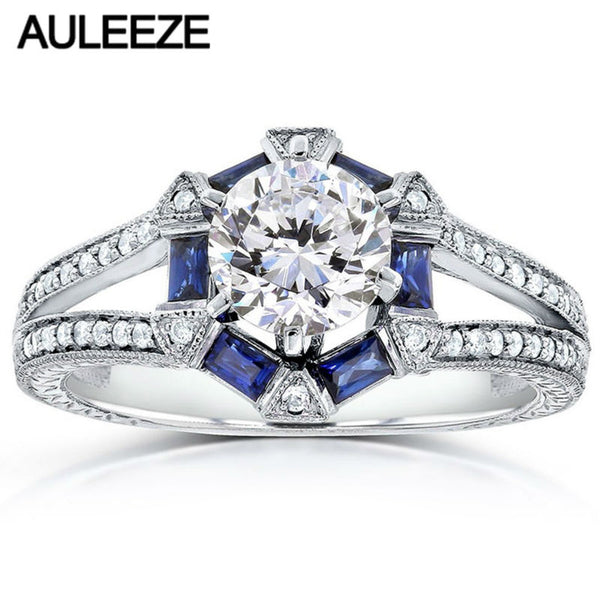 1 Carat Moissanites Engagement Ring Baguette-Cut Blue Sapphire 14K White Gold Rings For Women Lab Grown Diamond Wedding Bands