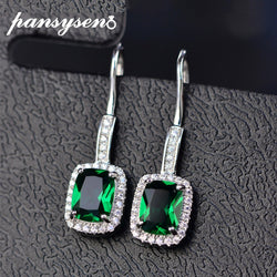 PANSYSEN New Fashion 100% Pure silver 925 Jewelry Earrings For Women 6x8MM Natural Emerald Drop Earrings Wedding Engagement Gift