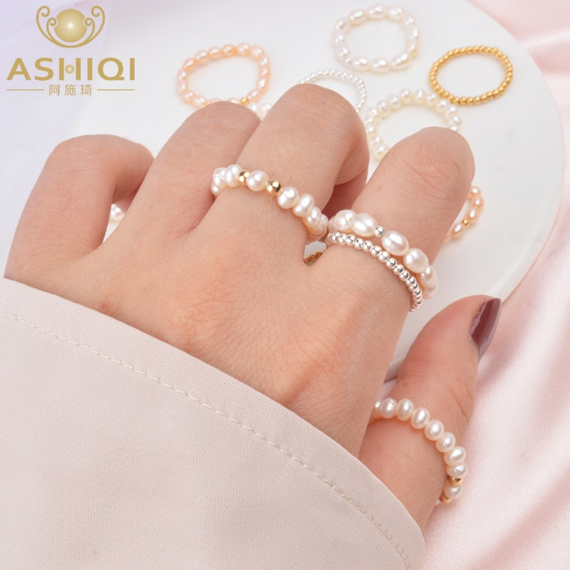 ASHIQI 2020 Fashion 3-4mm Mini Small Natural Freshwater Pearl Rings for Women Real 925 Sterling Silver Jewelry for Women Gift