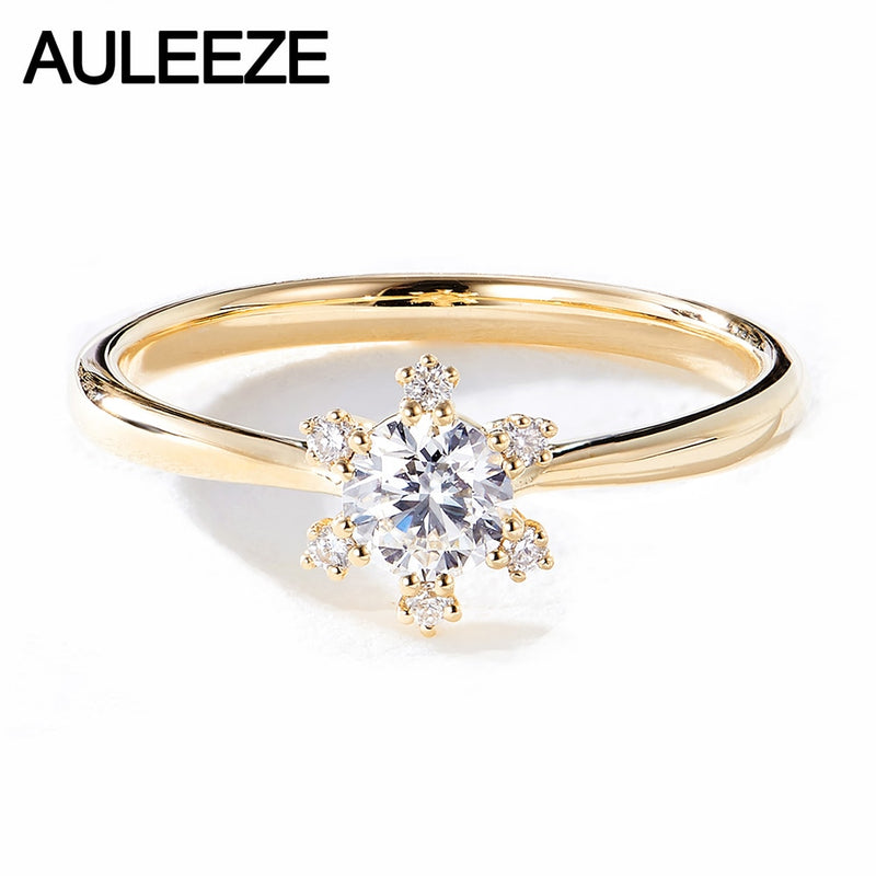 AULEEZE 18K Yellow Gold Real Diamond Ring SI H Color 0.3ct Diamond Female Ring Snowflake Design Au750 Gold Ring