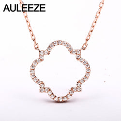 AULEEZE Real 18K Rose Gold Diamond Pendant Romantic Four Leaf Clover Natural Diamond Necklace For Women Jewelry