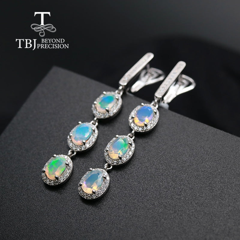 Long opal Cute Earring ,4.5ct natural opal oval 5*7mm gemstone Jewelry 925 sterling silver fine jewelry for party  tbj promotion