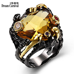 DreamCarnival 1989 Vintage Black Gold Rings for Women Big Light Brown Color CZ Zirconia Wedding Party Fashion Jewelry ZR14173