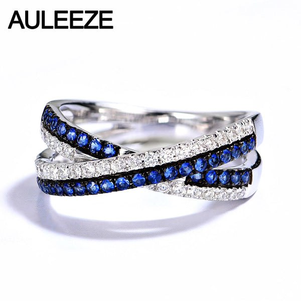 AULEEZE Real Natural Diamond Sapphire Female Ring 18k White Gold Cross Ring