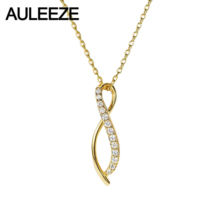 AULEEZE Genuine 18K Yellow Gold Diamond Pendant Necklace Clavicle Chain Office Lady Line Curved Pendant