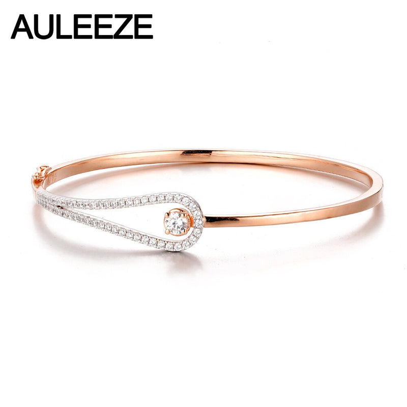 AULEEZE 14K Rose White Gold Diamond Bangle Solid 585 Gold Real Natural Diamond Bangle Office Lady Jewelry