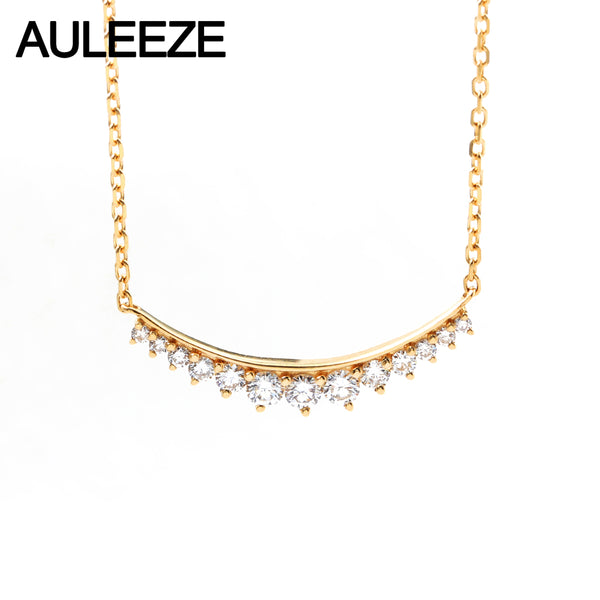 AULEEZE Lucky Smile 0.25cttw Real Diamond Pendant 18K Yellow Gold Natural Diamond Necklace For Women Party Fine Jewelry