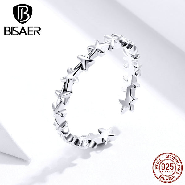 Starfish Jewelry BISAER 925 Sterling Silver Hot Sale Stackable Star Starfish Open Size Finger Rings for Women Jewelry ECR607