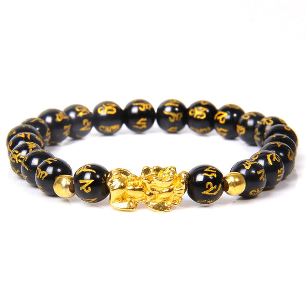 Women's Men Feng Shui Bracelet Luck Wealth Buddha Black Obsidian stone Beaded Bracelet hombre Gold Charm Pixiu Bracelet Gifts