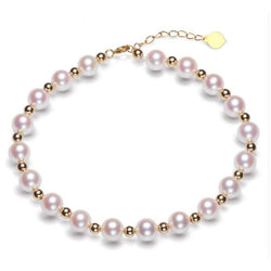 Sinya Pure real 18K gold beads and Natural pearls strands Anklets bracelets choker necklace length 16cm-45cm optional Hot sale